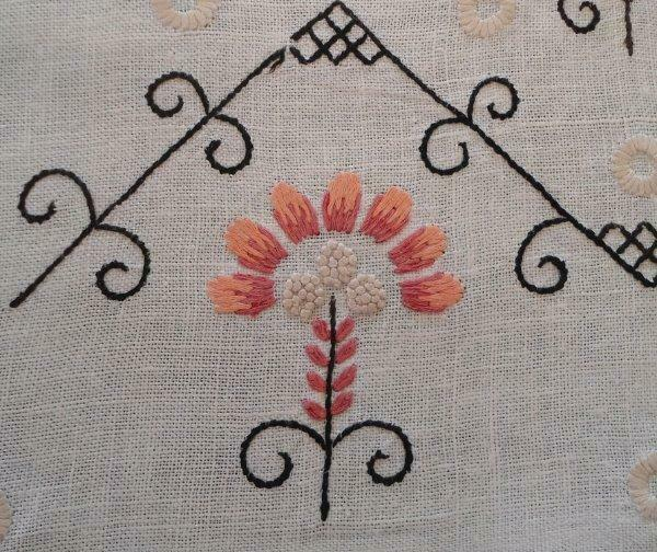 Vintage Arts Crafts Era Embroidered Table Runner Pink Black on Linen 43""