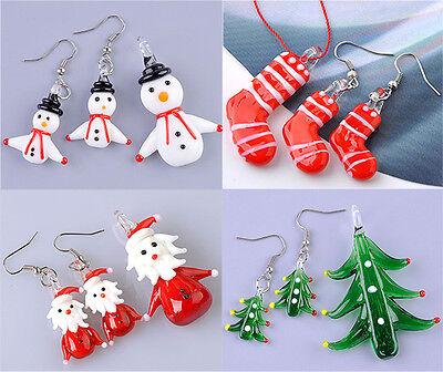 Christmas Santa Claus Snowman Murano Lampwork Glass Dangle Pendant Earrings Set  ()