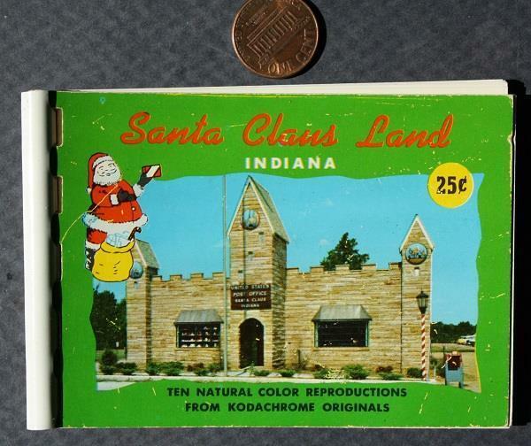 1960s Era Southern Indiana Santa Claus Land souvenir Kodachrome booklet-VINTAGE!