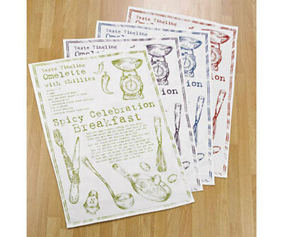 4 X QUALITY RECIPE TEA TOWELS 100% COTTON ASSORTED COLOURS ~ BRAND NEW