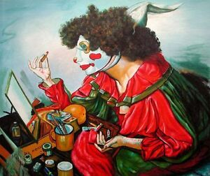 Original Oil Painting on Canvas-A Clown put make up on at Mirror