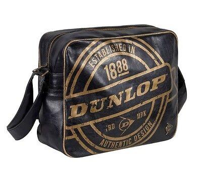 Dunlop Herren Tasche (Dunlop Stamp Flight Messenger Bag Laptop Tasche Schwarz Gold Neu mit Etikett)