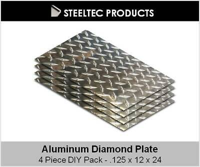 4 Pack - 18 .125 Aluminum Diamond Plate Sheet 12 X 24 5052