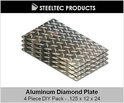 4 Pack - 18 .125 Aluminum Diamond Plate Sheet 12 X 24