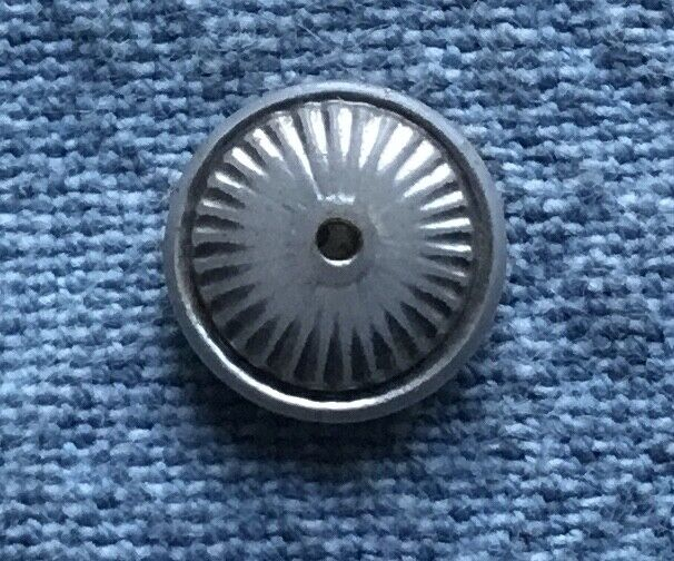 Antique Vtg Glass China Whistle Button - Piecrust Molded Ribbed - Silver Lustre - $4.99