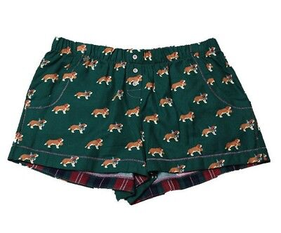 Jane and Bleecker Green Dog Printed Flannel Shorts, Small ()