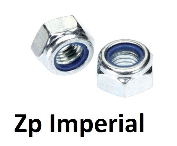 "Qty 5 Hex Nyloc Nut 1/2"" UNF Zinc Plated Steel Grade 5 Lock Insert ZP"