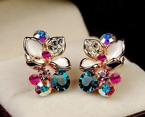 18K Rose Gold GP Swarovski Crystal Colorful Flower Stud Earrings