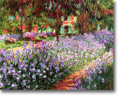 Claude Monet Garden Irises in Giverny 30 x 24 Stretched Canvas Giclee Art Repro