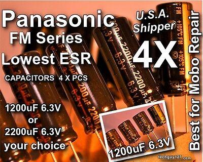 4x Panasonic Fm Series 1200uf Or 2200uf 6.3v Low Esr 105c Capacitors 6v