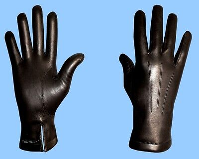 NEW MENS size 9.5 BLACK LEATHER GENUINE LAMB FUR LINED GLOVES