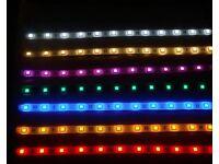 New 12V 5 Meters LED Strip Light, RGB Multiple Colour / Cool White / Warm White / UV / Red / Green