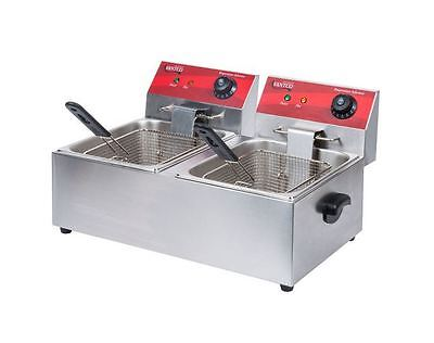 Commercial Kitchen Restaurant Electric Countertop Dual Tank Food Fryer 3500w