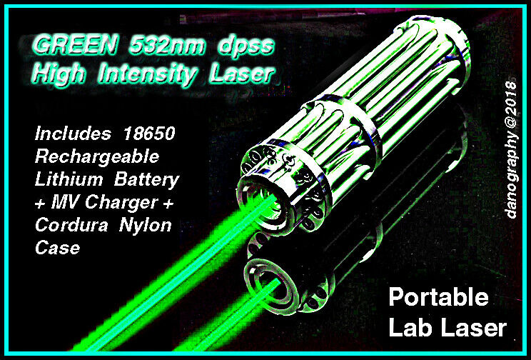 GREEN 532nm High Intensity Focusing Visible Beam Rechargeable Laser OUTFIT w/Cs