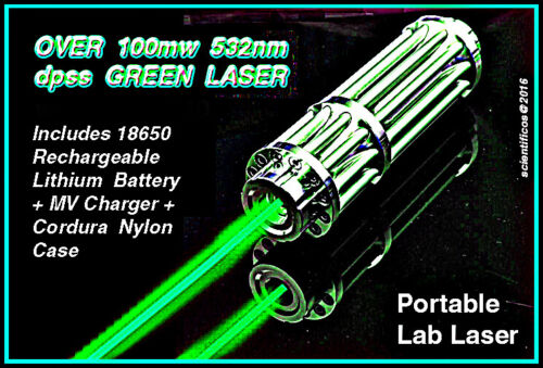 GREEN 532nm Focusing Laser Outfit w/ Case, Rechargeable Battery, Charger, Filter