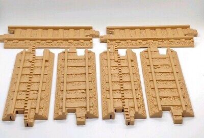 "Fisher-Price GeoTrax 6 Piece TRAIN TRACK Tan Straight 6"" Pieces Geo Trax"