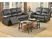 376 3 and 2 seater leather recliner sofa