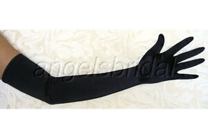 23-BLACK-LONG-STRETCH-SATIN-BRIDAL-WEDDING-PROM-PARTY-COSTUME-OPERA-GLOVES-SEXY