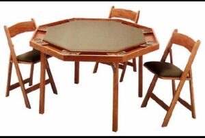 Poker Table & 4 Folding Chairs