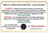 LEGAL PROBLEM - NEED HELP CALL 416 696 1522