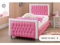 4ft pink diamonty leather bed for sale
