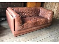 Retro / Vintage De Sede Style Mid Century Leather Sofa