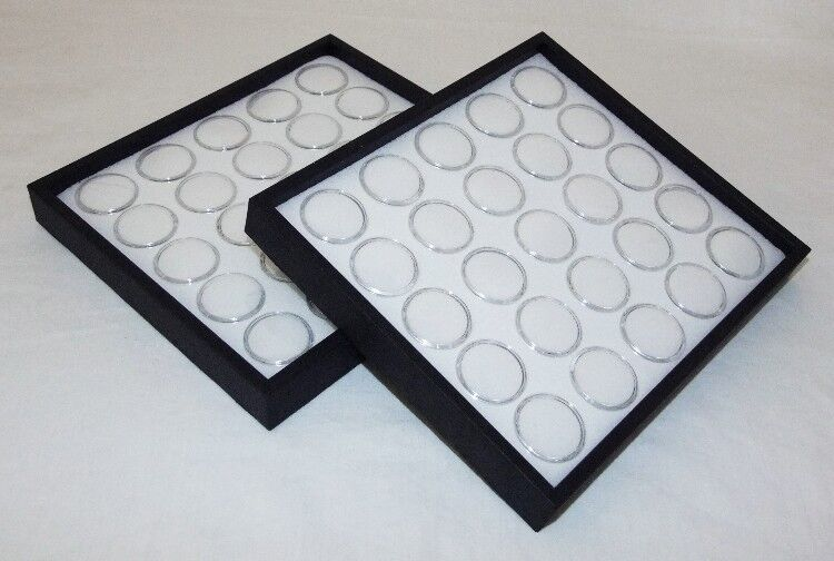 2 PACK GEM TRAY STACKABLE 25 SPACE WHITE FOAM & BLACK TRAYS