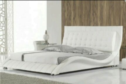King size white Leather bed & mattress