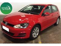 £201.76 PER MONTH RED 2013 VOLKSWAGEN GOLF 2.0 TDI SE 5 DOOR DIESEL MANUAL