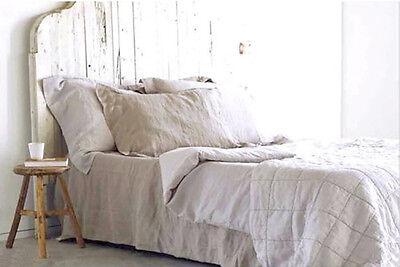 100% Leinen Bettlaken 240x220 cm Grau Naturleinen Neu