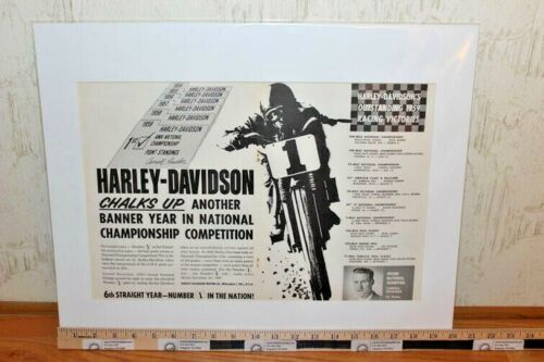 """1960 Harley-Davidson / Carroll Resweber - 16"""" x 20"""" Matted Vintage Motorcycle Ad"""