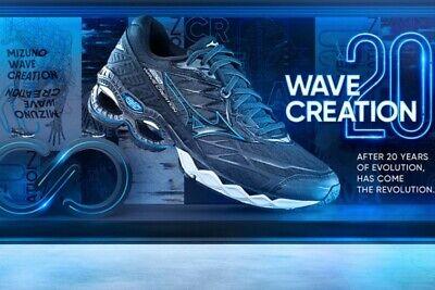 Mizuno Wave Creation 20 Men's  Medium Width Running Shoes Black/Blue/White Mizuno Black Shoes