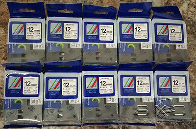 10 Pack Compatible Brother P-touch Tz-231 Tze-231 12mm 12 Label-tape Black Ink