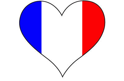 HEART FILLED WITH FRANCE / FRENCH FLAG STICKER - Car Bumper - 10 cm x 10 cm (French Flag Bumper Sticker)