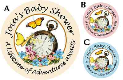 MAD HATTER TRULY ALICE BABY SHOWER PARTY PERSONALIZED ROUND STICKERS FAVORS OWLS (Mad Hatter Baby Shower)