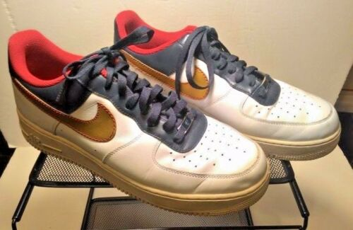 NIKE Air Force AF1-'82 Mens Shoes Sneakers Size 13 White Gold EUC