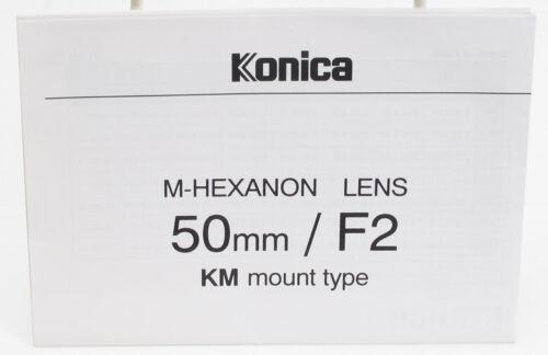 Genuine Original Konica Instruction Manual for M-Hexanon Lens 50mm f/2 Hexar RF