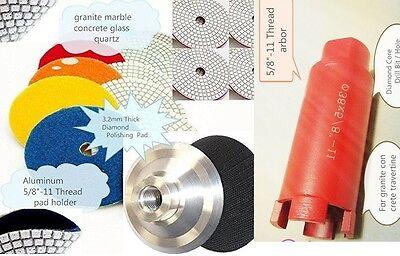 4 Diamond Polishing Pad 2 Core Bit Aluminum Backer Granite Concrete Sink Cut