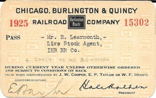 1925 Chicago Burlington and Quincy RR Pass for Indiana Harbor Belt RR BEAUTY