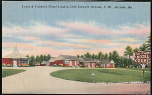 ATLANTA-GA-Town-Country-Hotel-Court-Vintage-Postcard