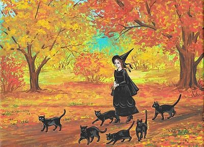 ACEO PRINT OF PAINTING RYTA BLACK CAT HALLOWEEN WHIMSICAL WITCH AUTUMN LANDSCAPE