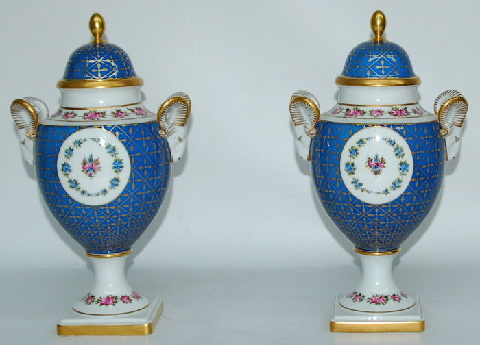 Pair Of Limited Edition AJKA 1878 Porcelain Handpainted Csiszar Jozsef Urns