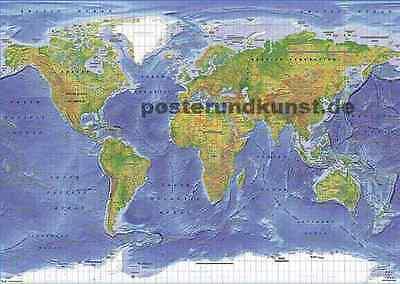 World Map Terrain Weltkarte topografisch Großes Poster 92x61 cm