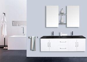 Mobile bagno arredo bagno completo pensile 120cm bianco doppio lavabo rubinetto ebay - Pensile bagno bianco ...