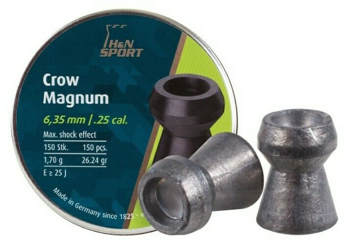 H&N CROW MAGNUM .25 CALIBER PELLETS 26.23 grains 150 Count VERY ACCURATE
