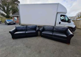 2 big 3 seater sofas in black leather Hyde throughout £450 like new