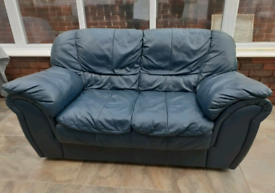 Second hand - 2 Seater Sofa - Blue Leather