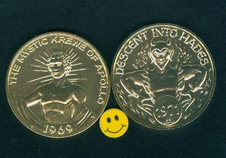 DEVIL Token 1971 Descent In To Hades - The Mystic Krewe Of Apollo Doubloon Coin