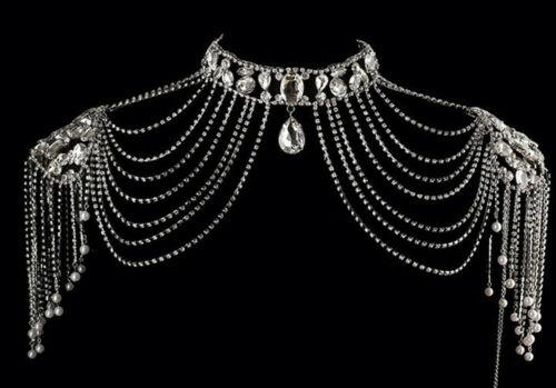 Hanmade Wedding Bridal  Rhinestone Silver Shoulder Chain Necklace Collar 5454