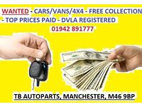 FREE COLLECTION! WANTED ALL MAKES/MODELS CARS & VANS DAMAGED/SCRAP/MOT FAILURE/ ATHERTON, LEIGH